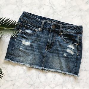 American Eagle Blue Denim Jean Mini Skirt - 0
